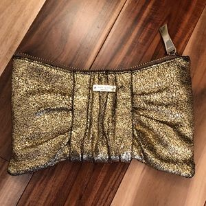 Kate Spade Leather Silka Rosalie Gold Bow Clutch